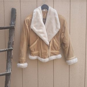 Vintage Wilson's Suede Leather Tan Bomber Jacket M